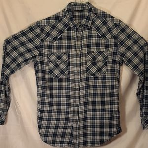 Diesel long sleeve Pearl snap flannel plaid shirt